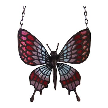 Plique-a-Jour Enamel Butterfly Sterling Necklace