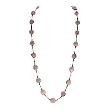 Antique Pools of Light Star Rose Quartz Necklace