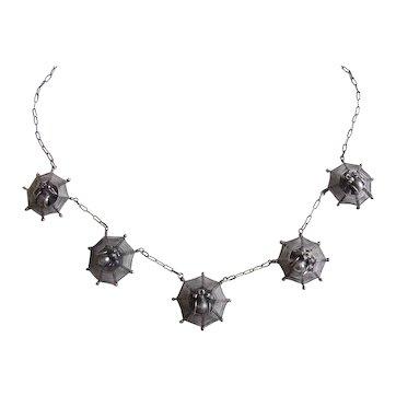 Antique Victorian Spiderweb Necklace