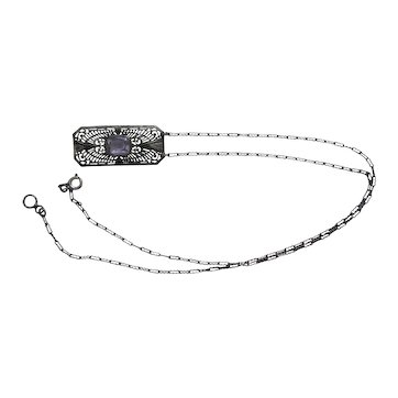 Antique Ostby Barton Sterling Silver Created Alexandrite Necklace