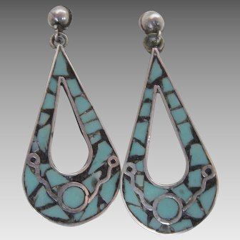 Mexican Sterling Silver Inlaid Turquoise Screwback Earrings c. 1940s Mexico Made