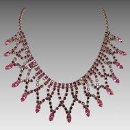 Fabulous Vintage Festoon Bib Style Necklace Faux Amethyst & Pink Rhinestones Goldtone Gorgeous! 1950s