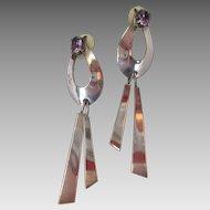 Stunning Sterling Purple Amethyst Glass Earrings by Carol Felley Shoulder Dusters Bold
