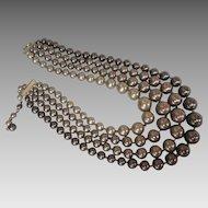 Vintage Glass Pearl Necklace 4 Strands of Soft Brown Tones Mocha Latte Mad Men 50s 1950s era
