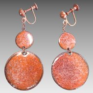 Vintage Enamel on Copper Drop Disk Dangle Earrings Screwbacks 1950s era MOD Mid Century