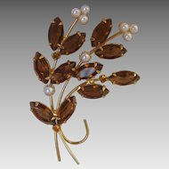 Vintage Topaz Pearl Flower Brooch Bouquet Beads Root Beer Color Glass Prong Set