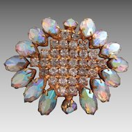 Vintage 1950s Brooch Aurora Borealis Finish to Large Stones Loaded WOW