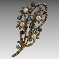 1950s Flower Brooch with Faux Pearls, Turquoise & Amethyst Glass Vintage Pin
