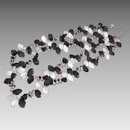 Fabulous Black and White Shell Beads Double Strand Necklace Tear Drop Accents