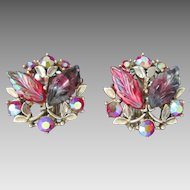 Luscious BSK Vintage Clip Earrings Givre Glass Aurora Borealis Designer Signed Raspberry Colors