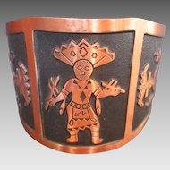 Vintage Solid Copper Cuff Bracelet Signed Bell w Kachina Southwestern Theme