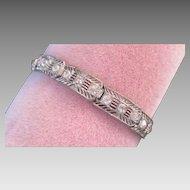 Exquisite Art Deco Link Bracelet Rhinestone Sparkles Silver Fretwork Metal - a beauty!