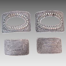 4 Victorian Shoe Buckles Metal with Clip Backs Clean Nice Designs TWO Pair
