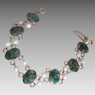 Vintage Green Adventurine Faux Pearl Double Link Bracelet 1/20 12K GF