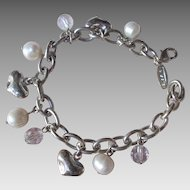 Vintage Charm Braclet by Talbots Hearts & Pearls Silver Tone