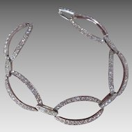 Vintage Monet Rhinestone Bracelet Large Oval Shape Linked