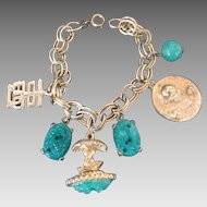 Vintage Charm Bracelet Faux Green Jade Asian Theme Gold Tone Double Links