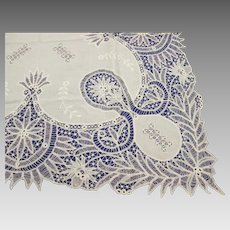 Elaborate Antique Irish Linen Cluny Lace w Embroidery Hand Made Ireland