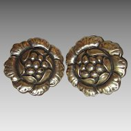 """Vintage CORO Clip Earrings Floral Flower Gold Plated Bold 1-1/4"""" Wide"""