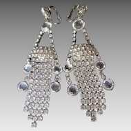 "Stunning Crystal Rhinestone Long Dangle Earrings Clip Back Chandelier Style 3-1/2"""