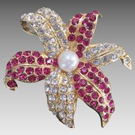 Gorgeous Lily Flower Brooch Magenta & Clear Rhinestones signed IVANA copyright sign Pin & Pendant