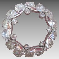 Lovely Faux Diamond Rhinestone Glass Circle Brooch