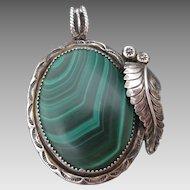 Sterling Silver Malachite Stone Pendant Large & Lovely Signed AM Southwestern Design