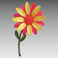 Vintage 60s Enamel Flower Power Lemon Orange Sunflower Brooch Big Bold Pin Mid Century Modernism