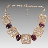 Stunning Bold Amethyst Glass w Gold Finish Necklace Big Beautiful Statement Piece