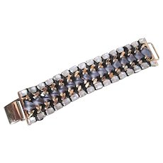 Bold Stella & Dot Bracelet Ribbon Wrapped Gold Plate Links with Style