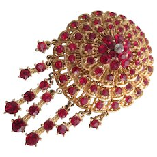 Fabulous Crimson Red Dome Top Brooch with Tassels and Tons of Sparkle w Rich Gold Tone Pin Holiday Style