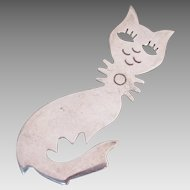 Adorable Sterling Silver Cat Made in Mexico Delightful Detail Modernism