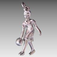 Vintage Sterling Silver Charm Lady Woman Bowling Bowler Dimensional