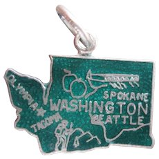 Enamel Sterling Silver Vintage Map Washington Souvenir State Charm for Bracelet 1960s