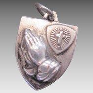 Vintage Sterling Silver I Am A Methodist Prayer Charm circa 60s for Bracelet Cross and Shield Hayward Design