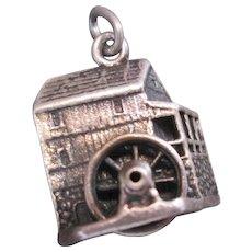 Vintage Cini Sterling Silver Water Wheel House Charm Vintage 60s Era Dimensional