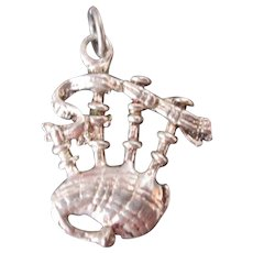 Vintage Sterling Silver Scottish Bagpipes Dimensional Charm