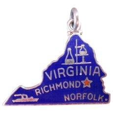 Sterling Silver Blue Enamel State of Virginia Map Souvenir Charm Vintage signed STG JMP