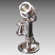 Antique Telephone Sterling Silver Charm Vintage 1 Ear Phone Candlestick Dimensional