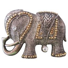 Lucky Elephant Brooch Fancy Vintage Pin w Rhinestones and Gold on Silver Embellishment