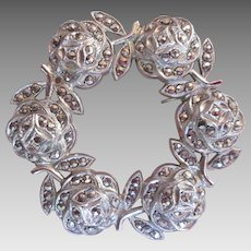 Sterling Marcasite Rose Circle Brooch Vintage Silver Pin