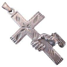 Sterling Silver Cross w Hand Hold Pendant Vintage Christian Theme Rare Design