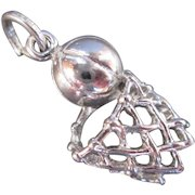 Sterling Silver Vintage Basketball and Net Hoop Charm Sports Theme