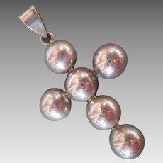 Sterling Silver Cross Pendant Bulbous Bead Modern Style
