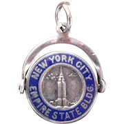 Sterling Silver Spins Empire State Building NYC Charm Vintage Antique Moveable