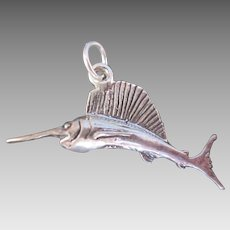 Fine Sterling Silver SAILFISH Charm Fun Spirited Beach or Nautical Theme