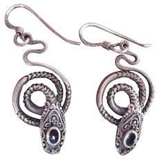 Vintage Sterling Silver w Onyx Coiling Snake Earrings for Pierced Ears
