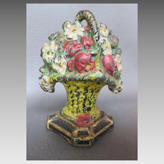 "Vintage Cast Iron Doorstop Floral Bouquet of Flowers Rich Colors 5-3/4"" Tall c.1920s"