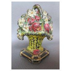 "Vintage Cast Iron Doorstop Floral Bouquet of Flowers Rich Colors 5-3/4"" Tall c.1920s"