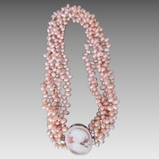 Gorgeous Sterling Silver Cameo on Pink Freshwater Pearl Necklace